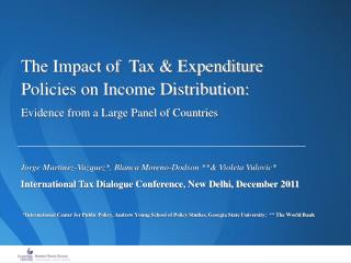 The Impact of  Tax  Expenditure Policies on Income Distribution: Evidence from a Large Panel of Countries