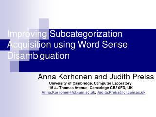 Improving Subcategorization Acquisition using Word Sense Disambiguation