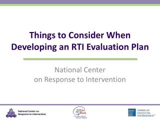 Things to Consider When Developing an RTI Evaluation Plan