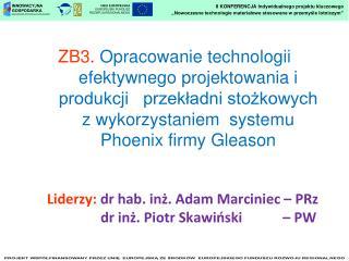 Liderzy:  dr hab. inż. Adam Marciniec – PRz    dr inż. Piotr Skawiński        – PW