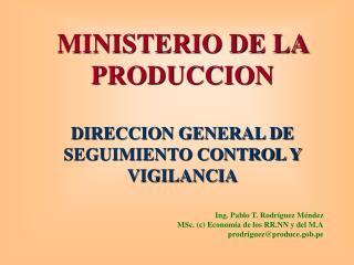 MINISTERIO DE LA PRODUCCION   DIRECCION GENERAL DE SEGUIMIENTO CONTROL Y VIGILANCIA