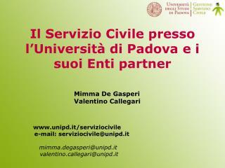 Il Servizio Civile presso l'Università di Padova e i suoi Enti partner