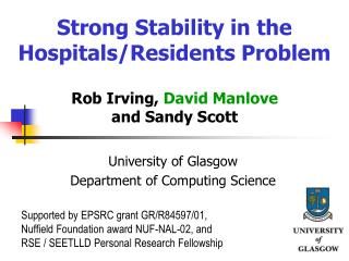 Strong Stability in the Hospitals