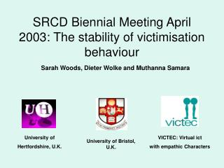 SRCD Biennial Meeting April 2003: The stability of victimisation behaviour