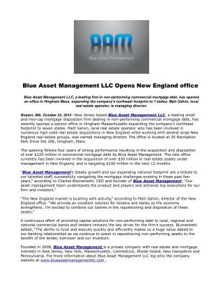 Blue Asset Management LLC Opens New England office