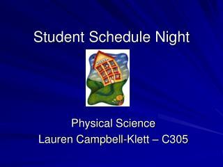 Student Schedule Night