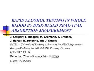 RAPID ALCOHOL TESTING IN WHOLE BLOOD BY DISK-BASED REAL-TIME ABSORPTION MEASUREMENT
