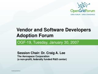 Vendor and Software Developers Adoption Forum