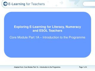 Exploring E-Learning for Literacy, Numeracy  and ESOL Teachers