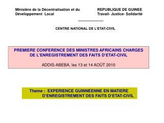 Ministère de la Décentralisation et du      REPUBLIQUE DE GUINEE