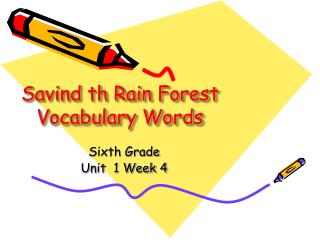 Savind th Rain Forest Vocabulary Words