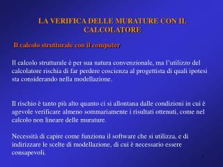 LA VERIFICA DELLE MURATURE CON IL CALCOLATORE