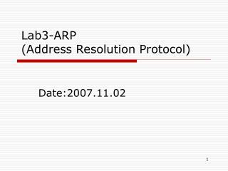 Lab3-ARP (Address Resolution Protocol)
