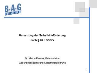 Umsetzung der Selbsthilfeförderung  nach § 20 c SGB V Dr. Martin Danner, Referatsleiter