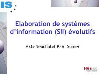 Elaboration de systèmes d'information (SII) évolutifs