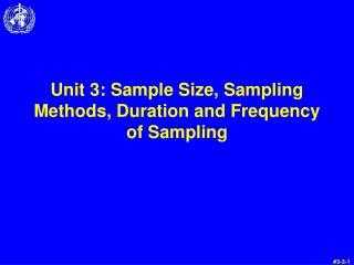 Unit 3: Sample Size, Sampling Methods, Duration and Frequency of Sampling
