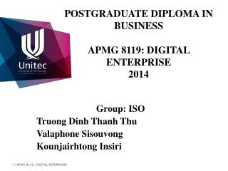 POSTGRADUATE DIPLOMA IN BUSINESS  APMG 8119: DIGITAL ENTERPRISE 2014