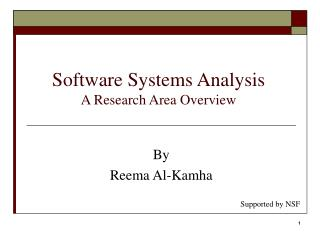 Software Systems Analysis   A Research Area Overview