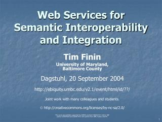 Web Services for Semantic Interoperability and Integration