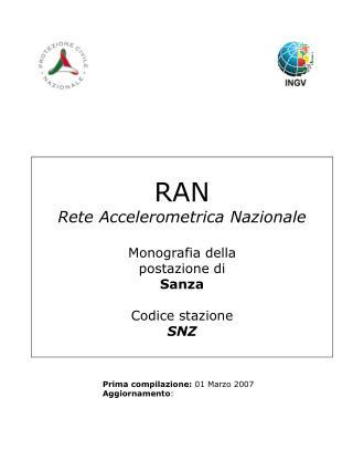 RAN Rete Accelerometrica Nazionale Monografia della postazione di Sanza Codice stazione SNZ