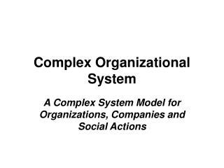 Complex Organizational System