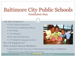 Baltimore City Public Schools Established 1829