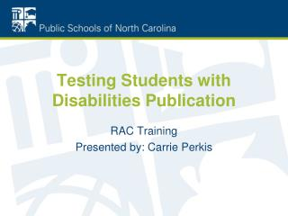 Testing Students with Disabilities Publication