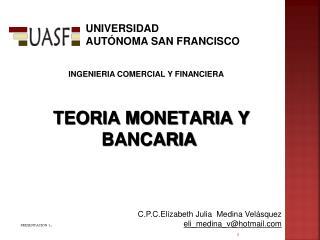 TEORIA MONETARIA Y BANCARIA