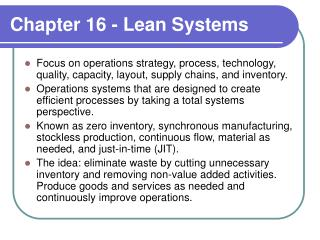 Chapter 16 - Lean Systems