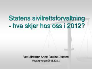 Statens sivilrettsforvaltning - hva skjer hos oss i 2012?