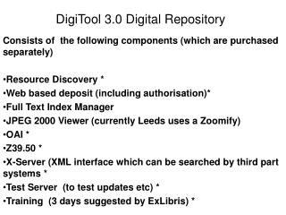 Consists of  the following components (which are purchased separately) Resource Discovery *