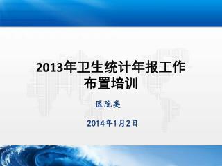 2013 年卫生统计年报工作 布置培训