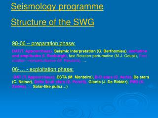 Seismology programme  Structure of the SWG