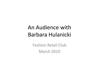 An Audience with  Barbara Hulanicki