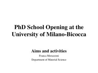 PhD  School Opening  at  the  University  of Milano-Bicocca