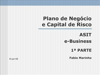 Plano de Neg cio  e Capital de Risco