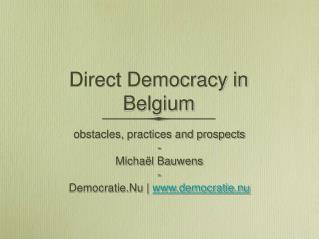 Direct Democracy in Belgium