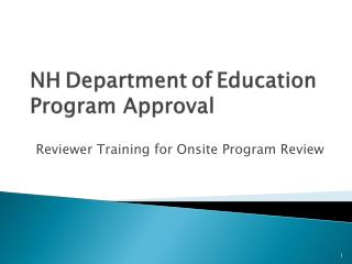NH Department of Education Program Approval