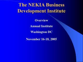 The NEKIA Business Development Institute