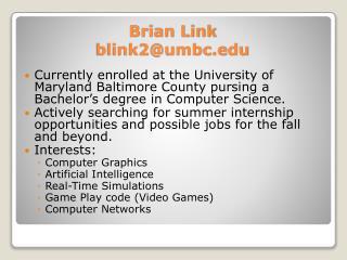 Brian Link blink2@umbc