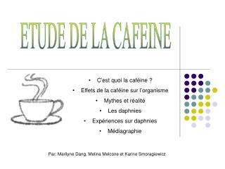 ETUDE DE LA CAFEINE