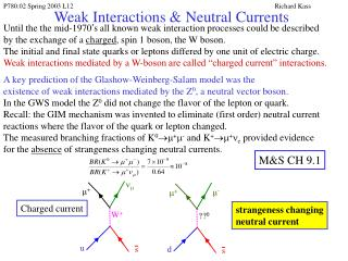Weak Interactions  Neutral Currents