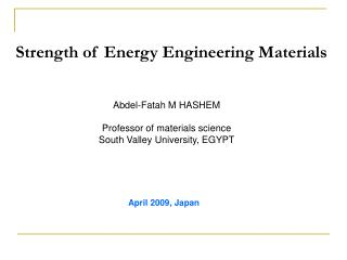 Strength of Energy Engineering Materials