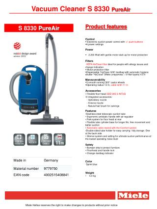Vacuum Cleaner S 8330  PureAir