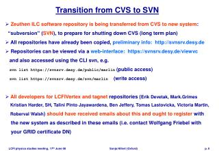 Transition from CVS to SVN