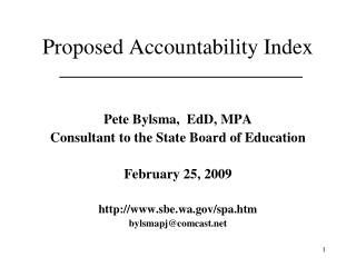 Proposed Accountability Index