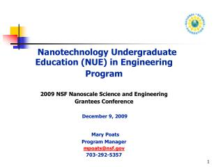 Nanotechnology Undergraduate Education (NUE) in Engineering  Program
