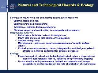 Natural and Technological Hazards & Ecology
