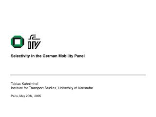 Selectivity in the German Mobility Panel