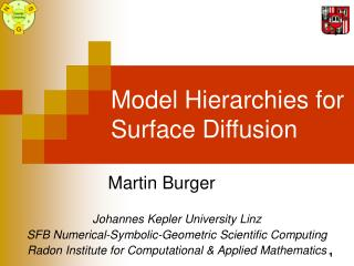 Model Hierarchies for Surface Diffusion